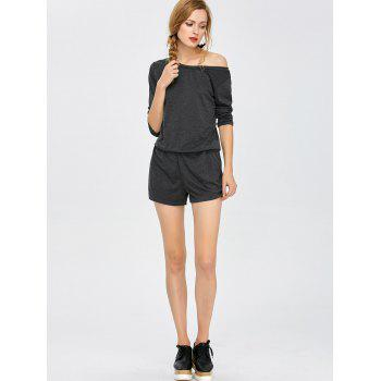 Elastic Waist Long Sleeve Romper - DEEP GRAY XL