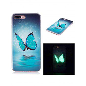 Butterfly Pattern TPU Luminous Back Case For iPhone - AZURE FOR IPHONE 7