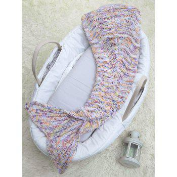 Hollow Out Wave Stripe Crochet Knit Mermaid Blanket Throw For Baby -  COLORMIX
