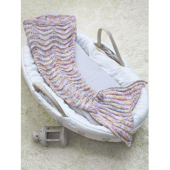 Hollow Out Wave Stripe Crochet Knit Mermaid Blanket Throw For Baby - COLORMIX COLORMIX