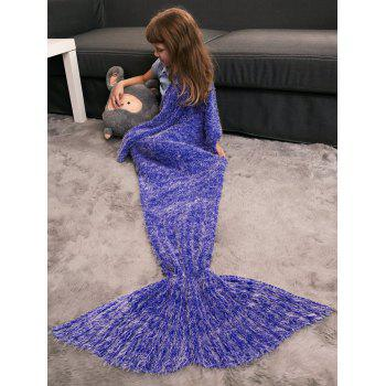 Crochet Knitted Faux Mohair Mermaid Blanket Throw For Kids - BLUE VIOLET BLUE VIOLET