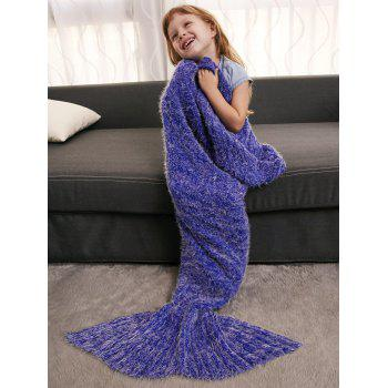 Crochet Tricoté Faux Mohair Mermaid Blanket Throw For Kids - Bleu Violet