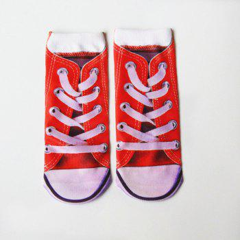 3D Sneakers Shoes Crazy Socks - RED RED