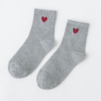 Small Heart Knitted Ankle Socks - GRAY GRAY