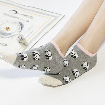 2 Pairs of Cartoon Panda Ankle Socks - COLORMIX COLORMIX