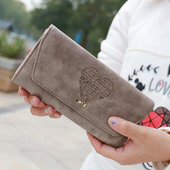 Hollow Out Heart Clutch Wallet -  KHAKI