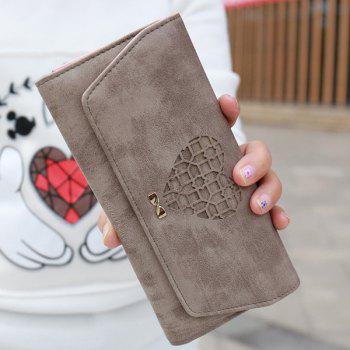 Hollow Out Heart Clutch Wallet - KHAKI KHAKI