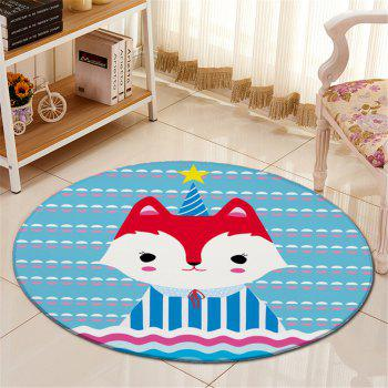 Buy Antislip Living Room Floor Cartoon Fox Round Carpet LAKE BLUE