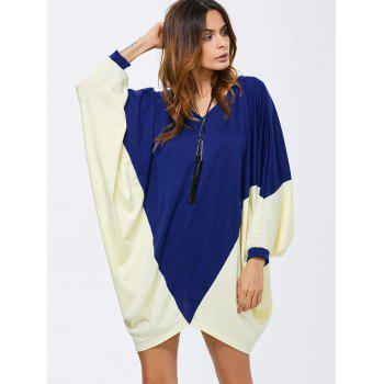 Batwing Sleeve Two Tone Dress
