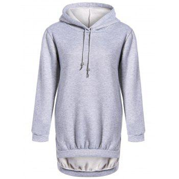 High Low Long Hoodie With Pocket
