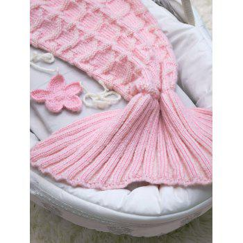Crochet Knit Little Mermaid Blanket Throw For Baby -  PINK