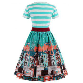 Striped Bowknot Printed Flare Dress - CYAN CYAN