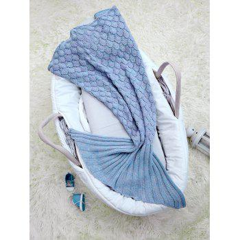 Photography Hollow Out Crochet Knit Mermaid Blanket Throw For Baby -  LIGHT BLUE