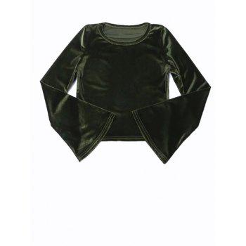Bell Sleeve Cropped Velvet Top