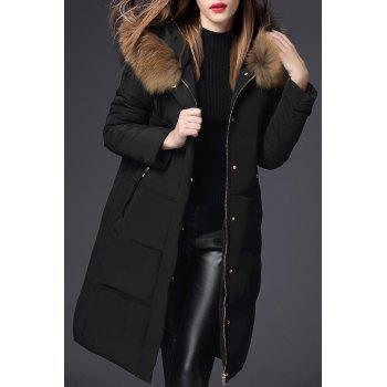 Hooded Walker Down Coat with Fur Collar