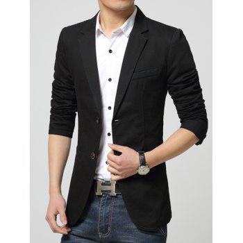 Notch Lapel Pocket Single Button Blazer