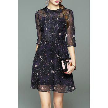 Collared Sheer Dress With Star Print