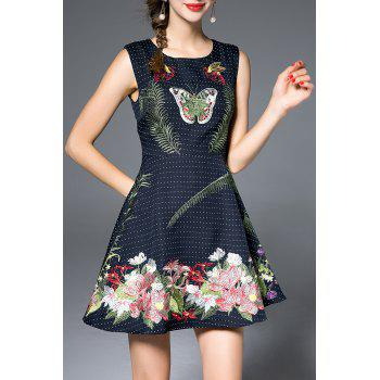 Sleeveless Floral Embroidered Skater Dress