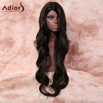 Big Wavy Long Side Parting Synthetic Wig - BLACK