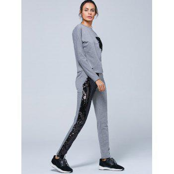 Pocket Sweatshirt and Sequins Jogger Pants - S S