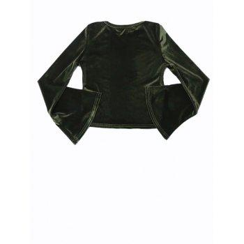 Bell Sleeve Cropped Velvet Top - DEEP GREEN DEEP GREEN