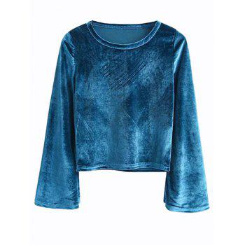 Bell Sleeve Cropped Velvet Top - PEACOCK BLUE PEACOCK BLUE