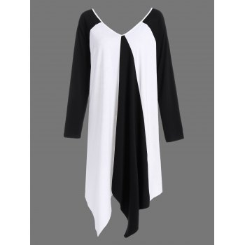 Plus Size V Neck Asymmetrical Two Tone T-Shirt - WHITE AND BLACK WHITE/BLACK