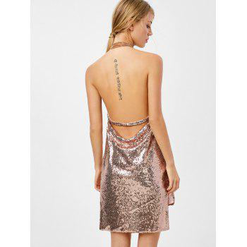 Mini Halter Draped Sequin Backless Club Dress - GOLDEN L
