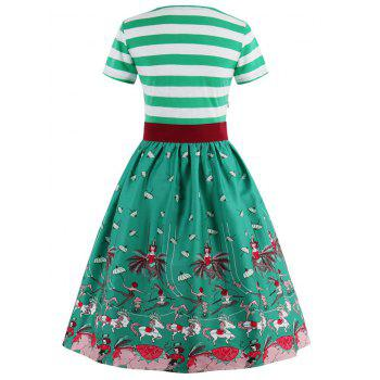 Striped Bowknot Printed Flare Dress - CRYSTAL GREEN L