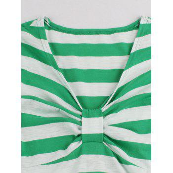 Striped Bowknot Printed Flare Dress - CRYSTAL GREEN 2XL
