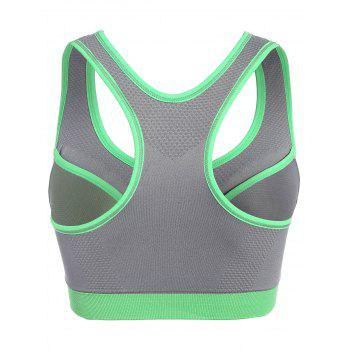 Front Close Racerback Padded Zipper Front Sports Bra - GRAY M