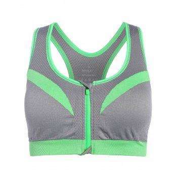 Front Close Racerback Padded Zipper Front Sports Bra - GRAY GRAY
