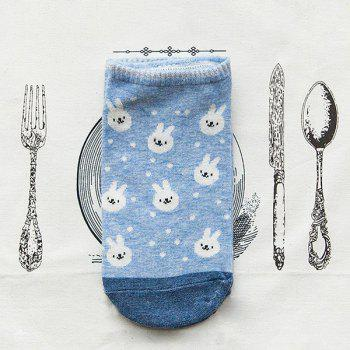 2 Pairs of Cartoon Rabbit Ankle Socks - LIGHT BLUE
