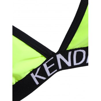 Halter Low Cut Padded Bikini Set - NEON GREEN XL