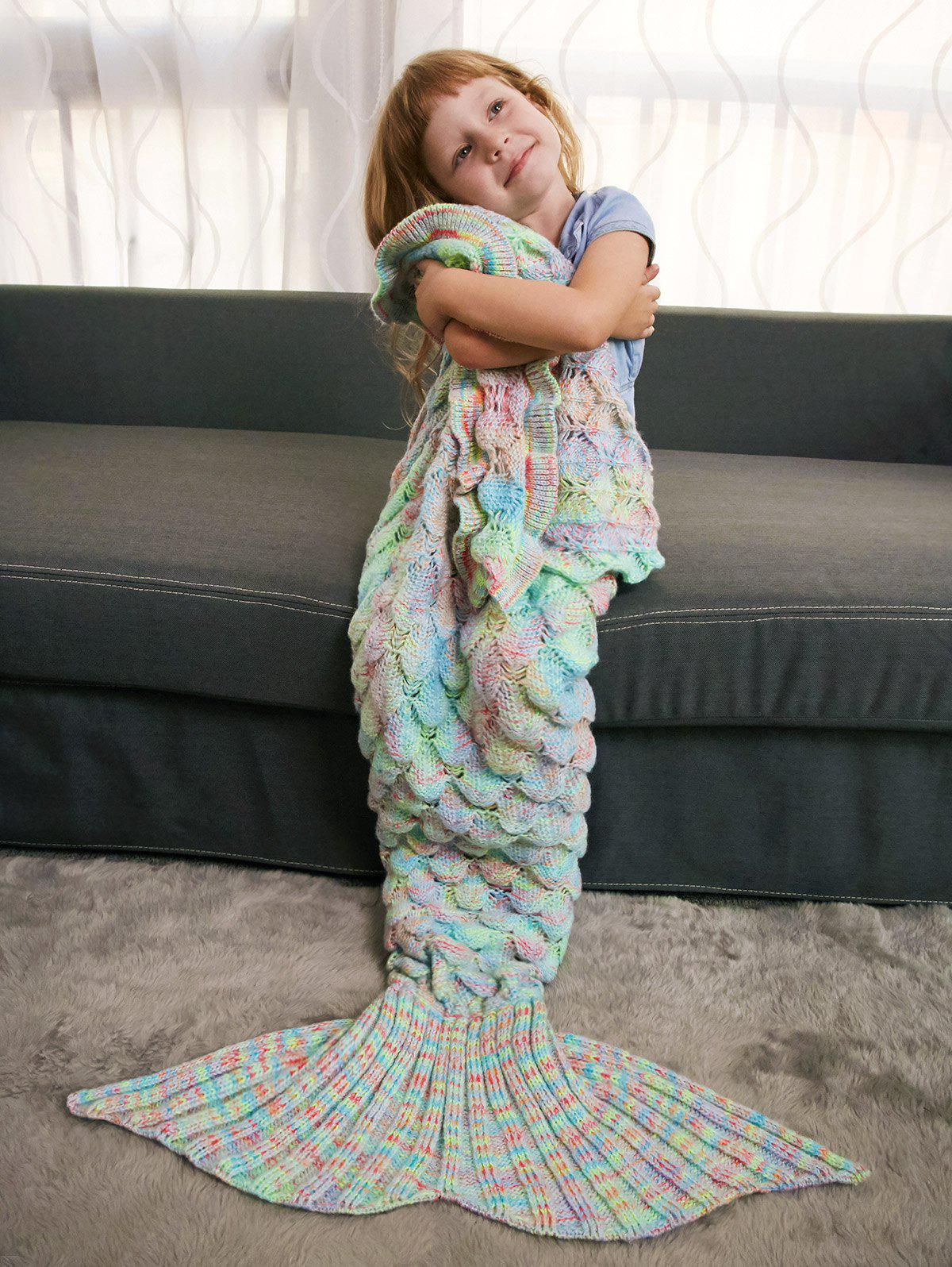 Keep Warm Ruffles Crochet Yarn Mermaid Blanket Throw For Kids - PALE GREEN