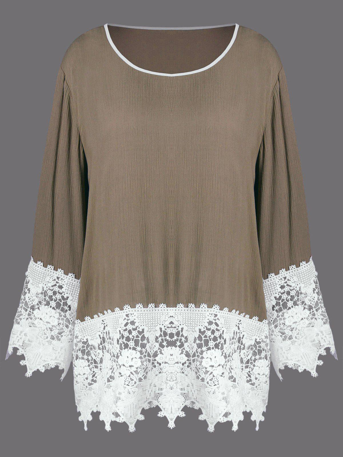 Plus Size Tunic Lace Insert T-Shirt - LIGHT BROWN XL