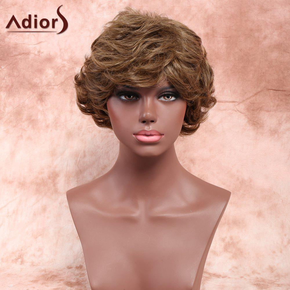 Adiors Layered Short Shaggy Inclined Bang Curly Synthetic Wig - COLORMIX