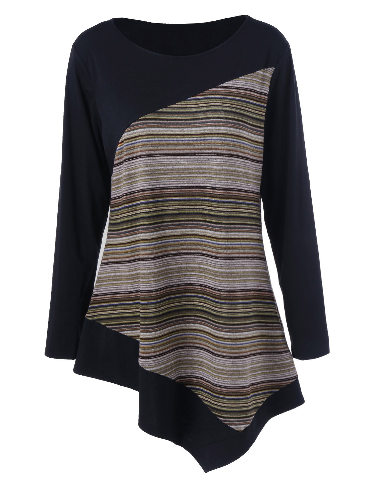 Long Sleeve Colorful Striped Asymmetric Tunic T-Shirt free shipping 10pcs 100% new lmv934ma