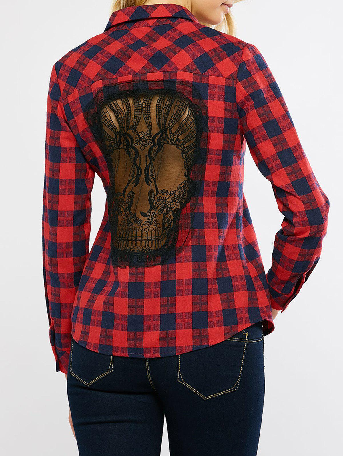 Plaid Graphic Long Sleeve Lace Panel Skull Cutout Shirt lace panel graphic slub t shirt
