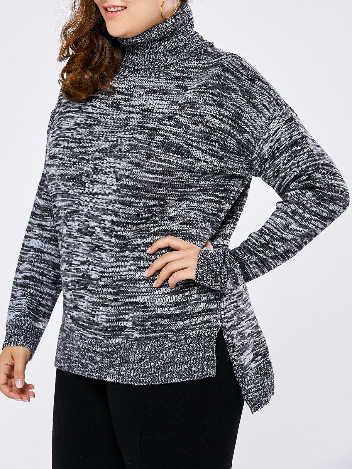 Plus Size Drop Shoulder High Low Turtleneck Sweater - GRAY 5XL