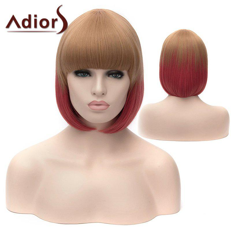 Adiors Silky Straight Short Bob Full Bang Double Color Synthetic Wig - COLORMIX