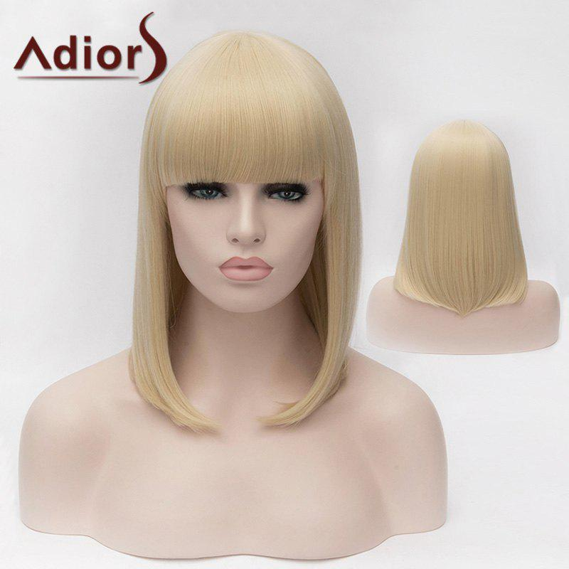 Adiors Silky Straight Medium Bob Full Bang Synthetic Wig - LIGHT GOLD