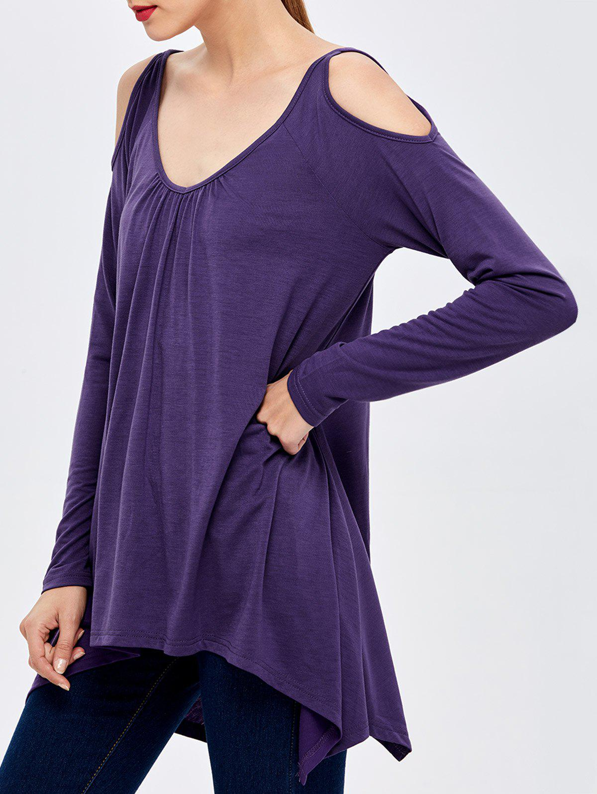 Open Shoulder Ruched Asymmetric T-Shirt ruched button t shirt