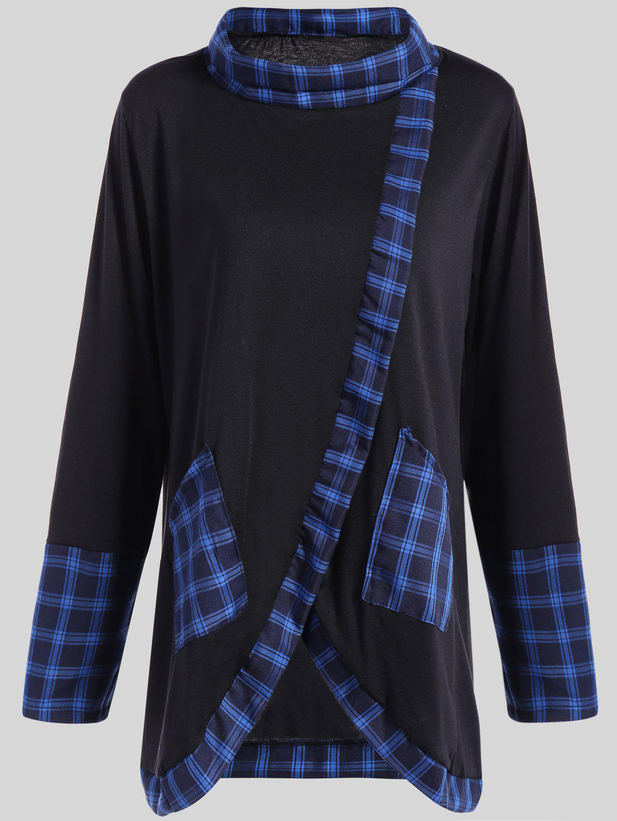 Plus Size Plaid Insert Asymmetrical Tee - BLACK/BLUE XL