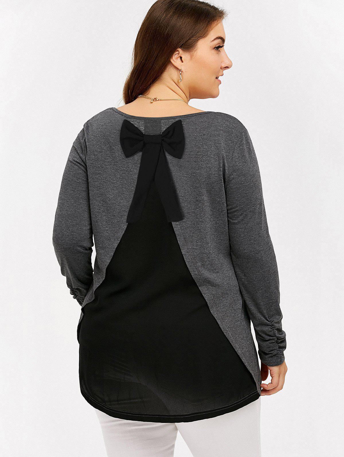 Plus Size Bowknot Insert Tunic T-ShirtWomen<br><br><br>Size: 3XL<br>Color: BLACK AND GREY