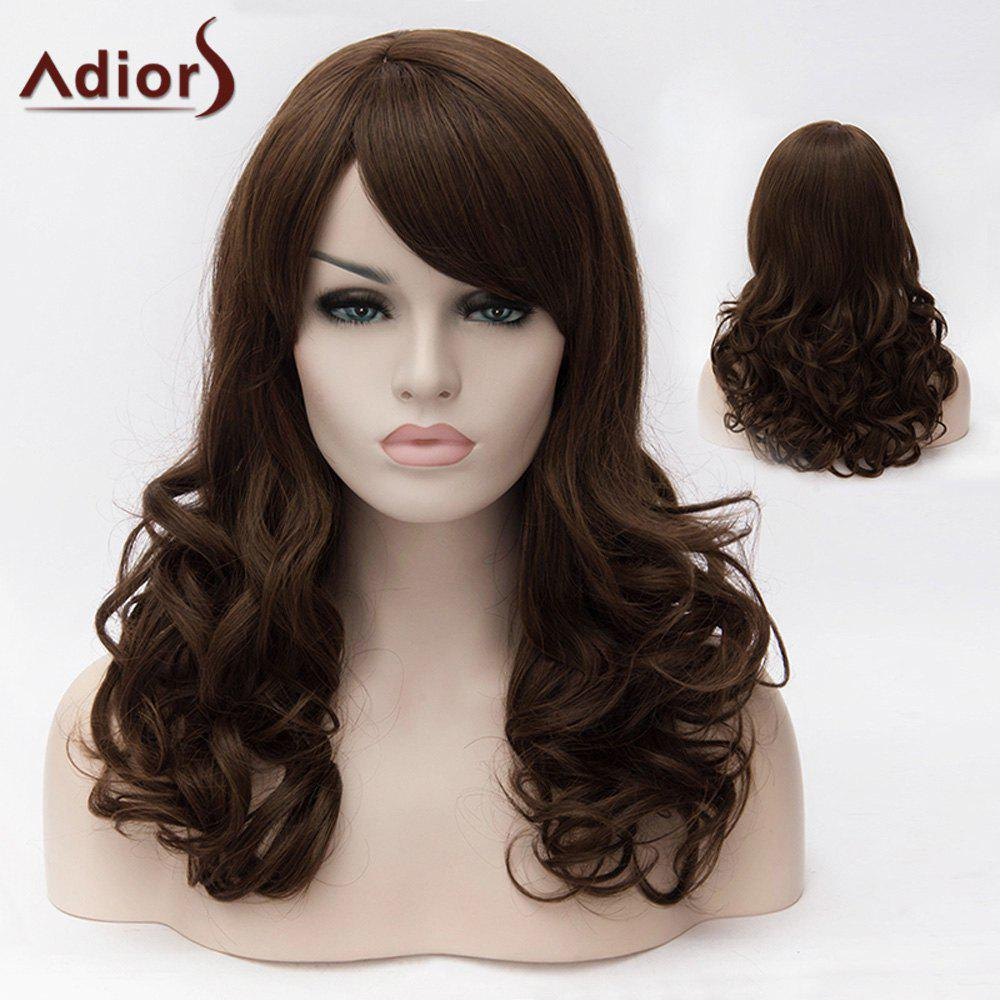 Adiors Oblique Bang Long Fluffy Wavy Colormix Synthetic Wig adiors colormix long side bang half braided wavy synthetic wig