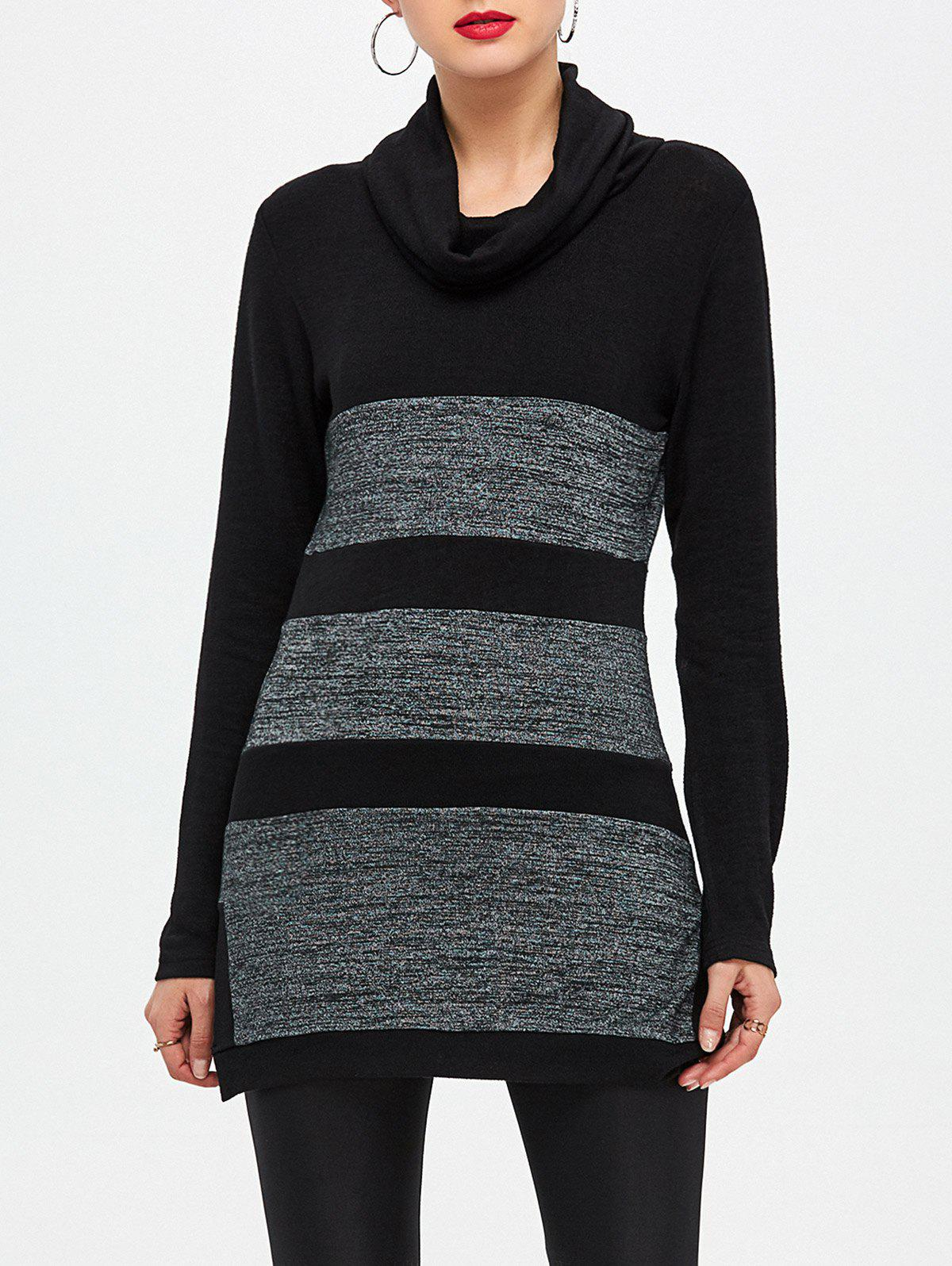 Buy Color Block Side Slit Tunic Knitwear BLACK/GREY