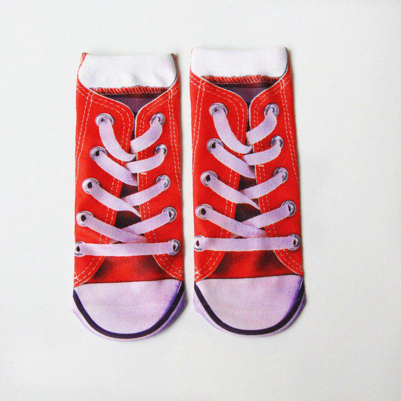 3D Sneakers Shoes Crazy Socks - RED