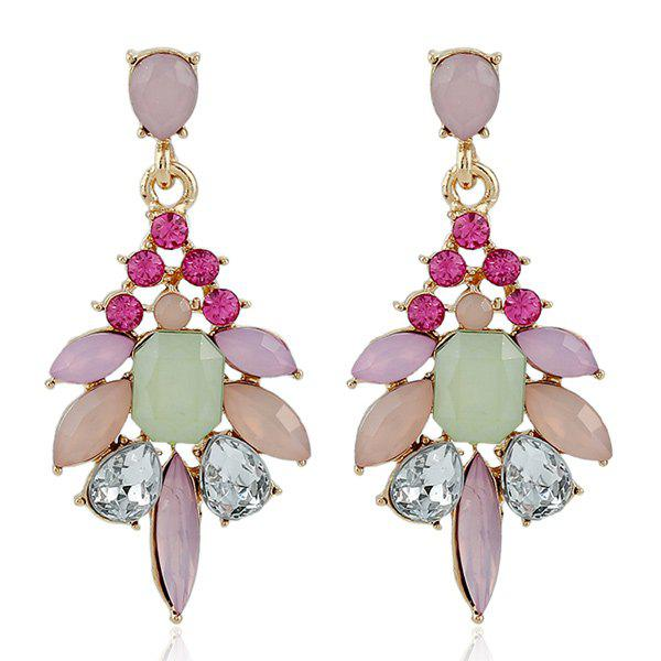 Faux Gem Rhinestone Geometric Dangle Earrings - PINK