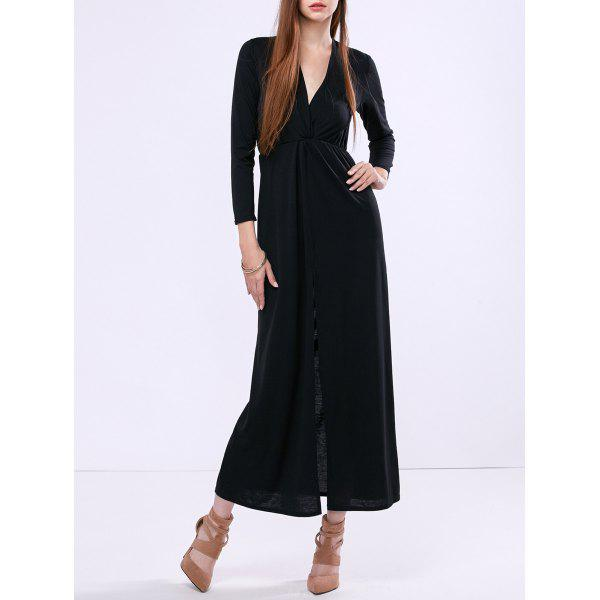 Buy Low Cut High Slit Maxi Dress BLACK